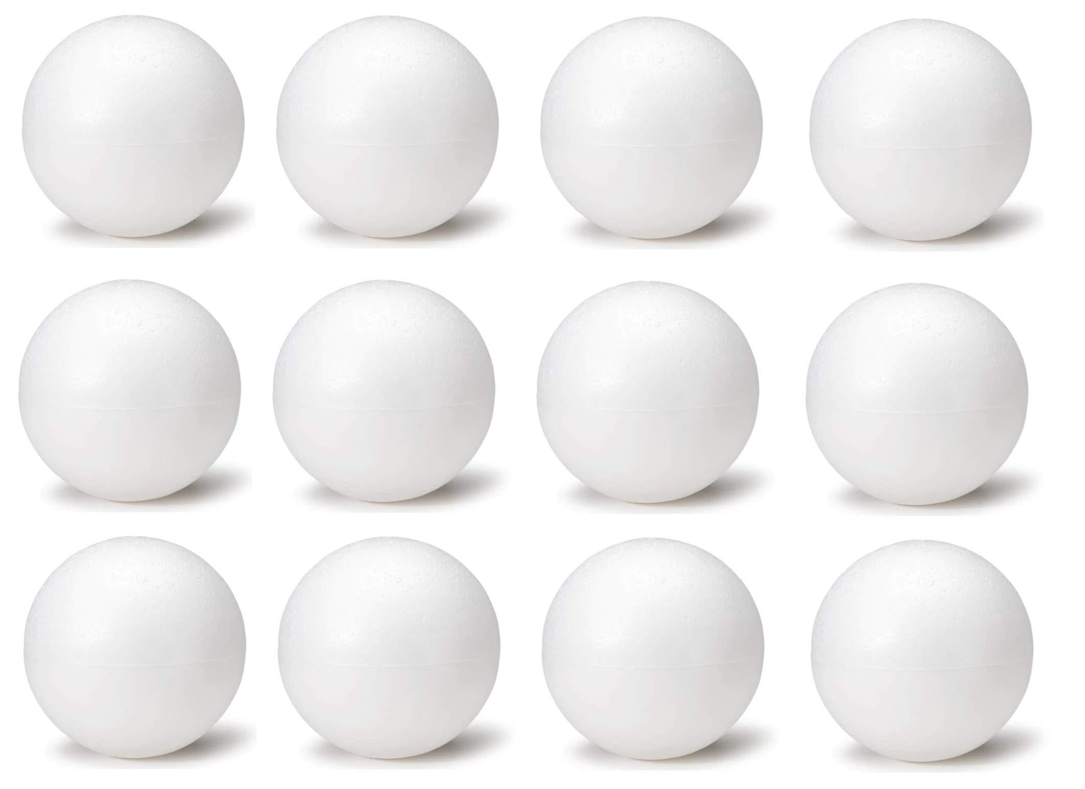 6 Inch White Foam Craft Balls for Art & Crafts Projects Foam Polystyrene Balls (12)