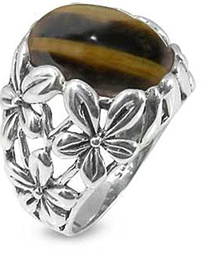 BillyTheTree Gemstone Jewelry Sterling Silver Ring with Oval Tiger s Eye Stone BTS-NRB6067 TE