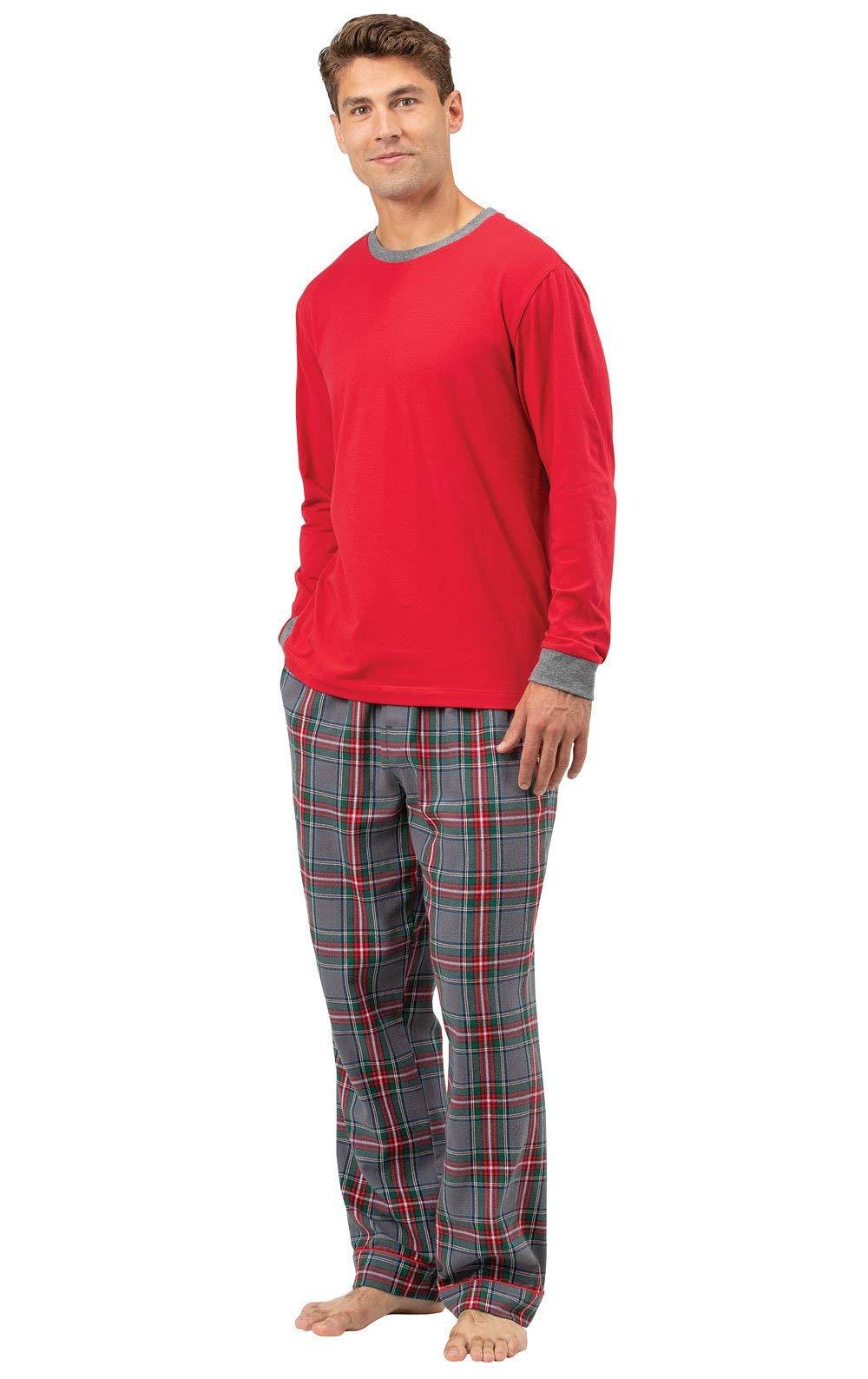 PajamaGram Mens PJs Set Plaid - Men's Flannel Pajama Set, Solid Top, Gray, LG