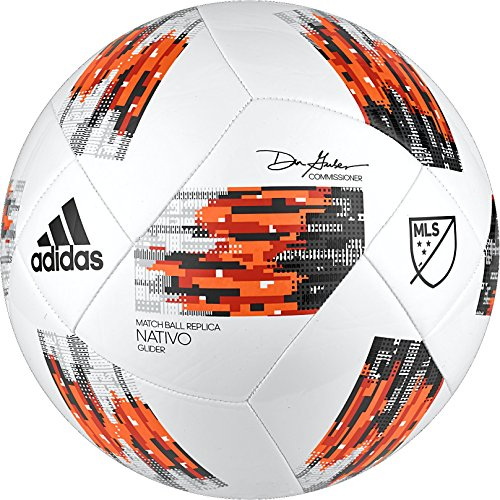 adidas MLS Glider Soccer Ball, White/Orange, Size 5 Adidas Orange Soccer Ball