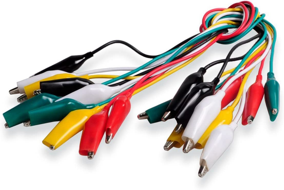 WGGE WG-026 20 Pieces and 5 Colors Test Lead Set /& Alligator Clips 20.5 inches