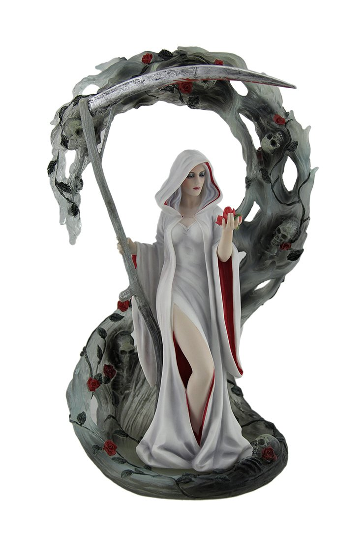 Veronese Resin Statues Life Blood By Anne Stokes Pale Lady Reaper Holding Scythe Statue 11 Inch 7 X 11 X 5.25 Inches Gray
