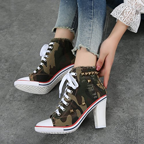 High up Lace Heels Étudiant Rivet Armygreen Canvas Chaussures Nbwe Femmes Denim qxXYWtwW1E