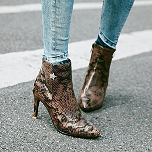 Cremallera Boots Snake Pointy Shoes Stilettos de Martin QPYC brown lateral Mujeres Boots Botas tamaño Mujeres gran Short Tube Short xR4SqtnX