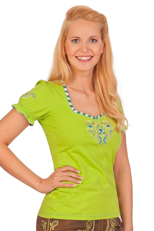 Farbintensives Trachten Shirt 1/2 Arm - RETSINA - lachs, limone, rot