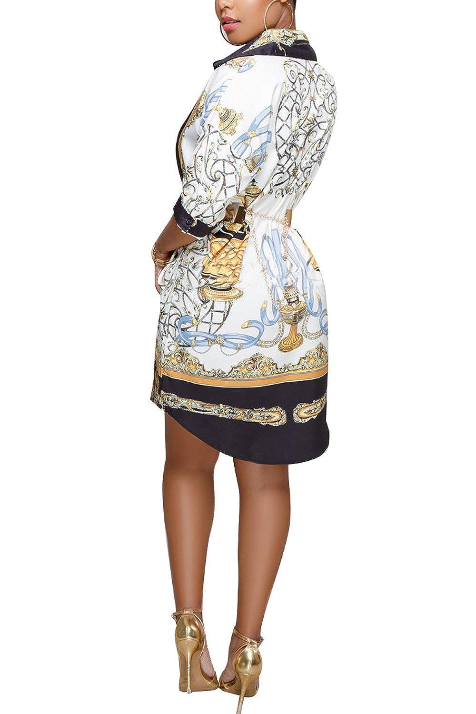 Leezeshaw Women Turn Down Collar Hot Printed Long Sleeve Shirt Dress Without Belt