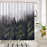 Tidy decor Shower Curtains Fog Pine Trees Forest Waterproof Polyester Fabric Shower Curtain(69inW70inL)