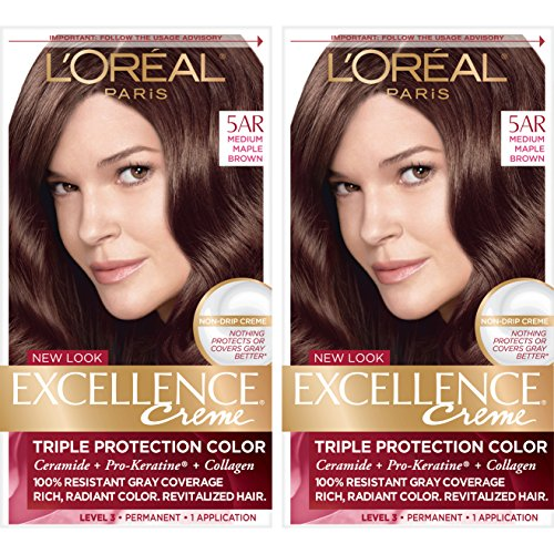 L#039Oreal Paris Excellence Creme Permanent Hair Color 5AR Medium Maple Brown 2 Count 100% Gray Coverage Hair Dye