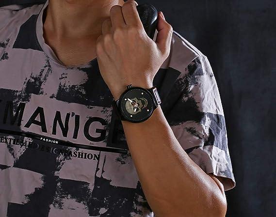 Amazon.com: Fashion Big Face Sports Watch for Men Black Leather Wrist Watch Waterproof Analog Male Casual Quartz Watch (Silver): Watches