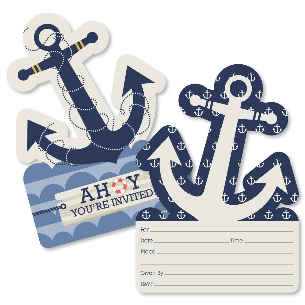 Ahoy Nautical Shaped Fill in Invitations Baby Shower or Birthday Party Invitation Cards with Envelopes Set of 12