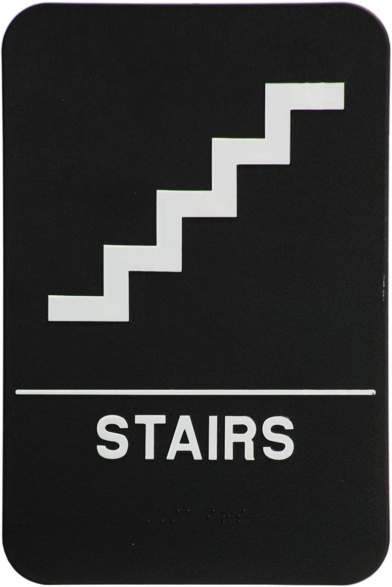 ADA London Health Products Stairs Sign Black /& White Includes Adhesive Tape and Instructions