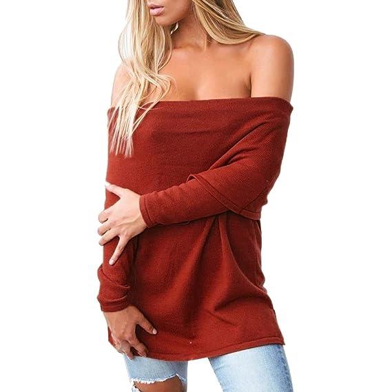 Kinlene Hombros Descubiertos para Mujer, Tops Suelto Blusa Causal Camisetas Ocasionales Sexy Blusas de Las Señoras Camisa con Volantes Mangas largas Tops: ...