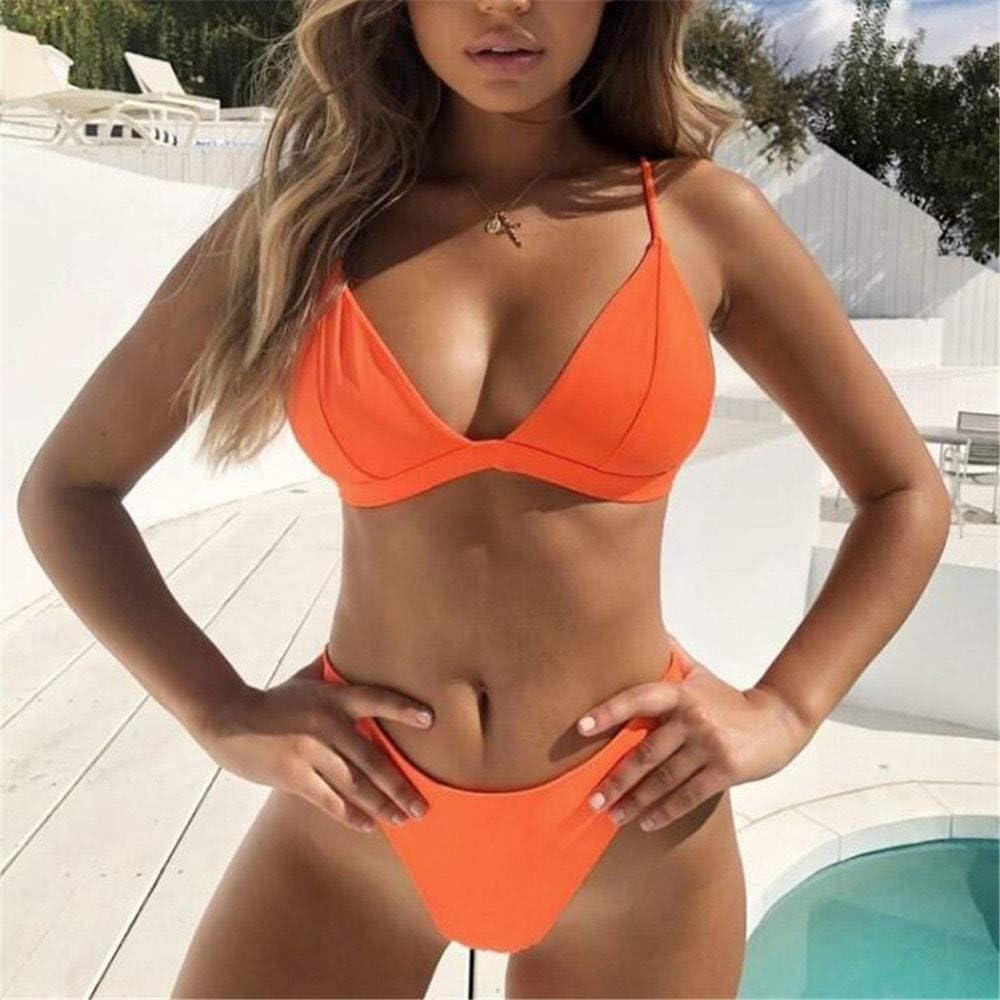 Gerichy Bikini,Women Padded 2 Pieces Push Up Swimsuit Revealing Thong Bikinis V Bottom Style Brazilian Bottom Bra Sets