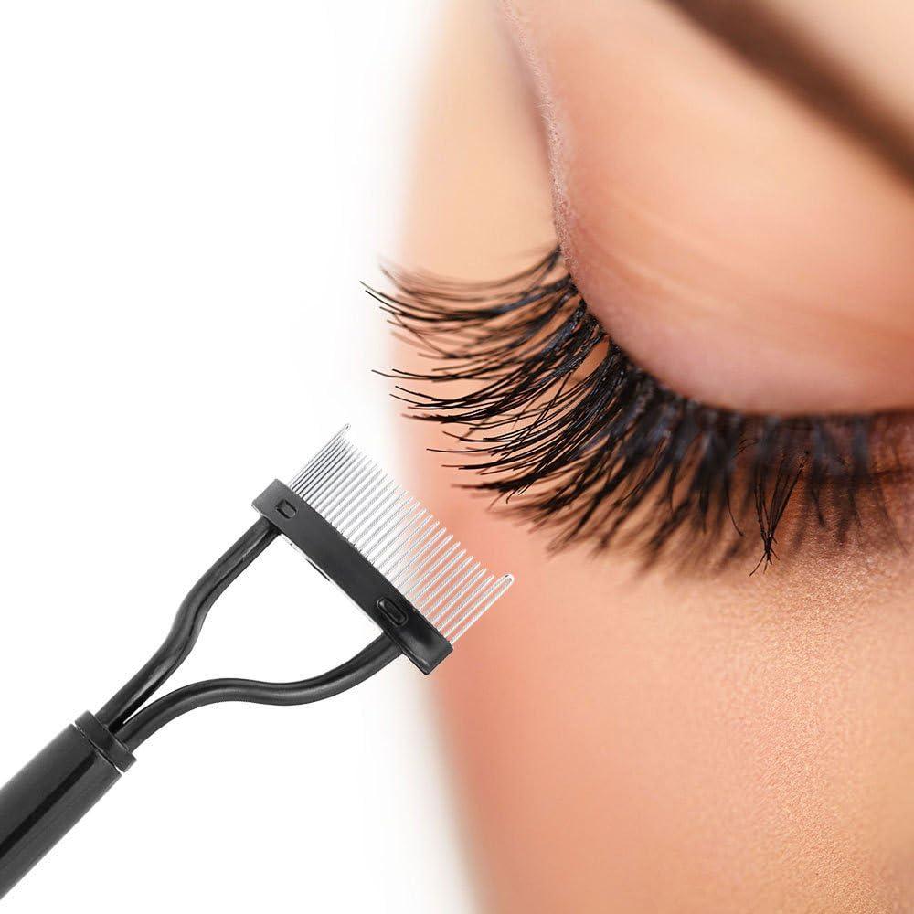 Bestow Peine de pestañas Doble ceja Peine ift Curl Metal Brush Belleza Herramienta de Maquillaje