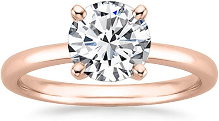 1 2 Carat Round Cut Diamond Solitaire Engagement Ring 14k Yellow Gold 4 Prong H I I1 0 5 C T W Ideal Cut Amazon Com