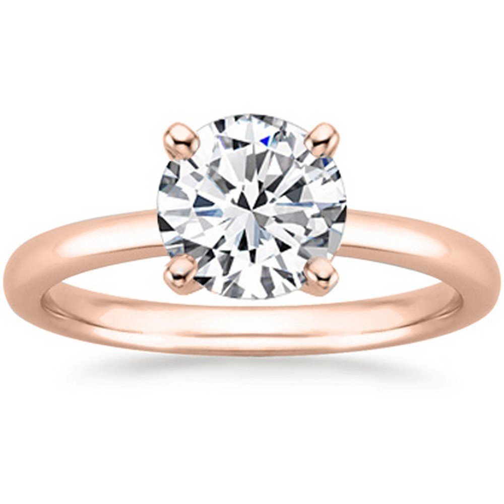 3/4 Carat 14K Rose Gold Round Cut Solitaire Diamond Engagement Ring (0.75 Carat J-K Color I2 Clarity)