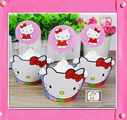 24 Pcs HELLO KITTY Theme Fun Cupcake Wrappers Toppers Decoration Birthday Party Favors - SERVE 12
