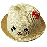 ACVIP Girl's Straw Weaved Kitty Face Red Bowtie Sun-Hat (Off-White)