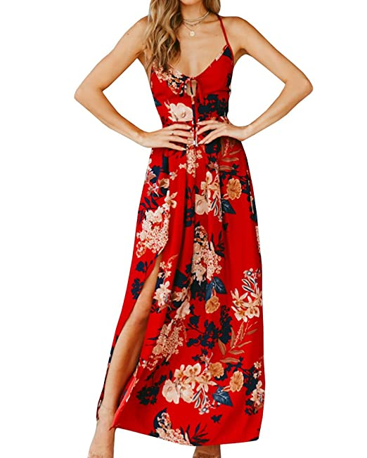 d55fe0599e Sherrylily Women Floral Printed Lace Up Backless Slit Side Maxi Dress at  Amazon Women s Clothing store