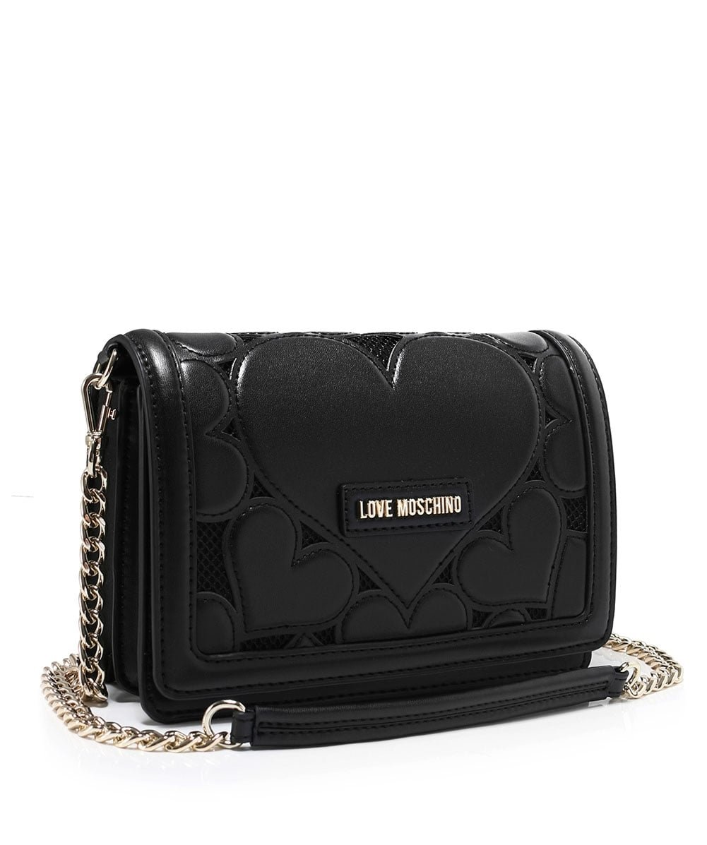 Love Moschino Women's Leather Fold Over Clutch Bag One Size Black by Love Moschino (Image #2)