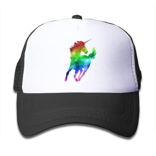 ee2ffda69f3 Waldeal Rainbow Galaxy Unicorn Kids Mesh Cap Baseball Hat Youth Trucker Cap  Black