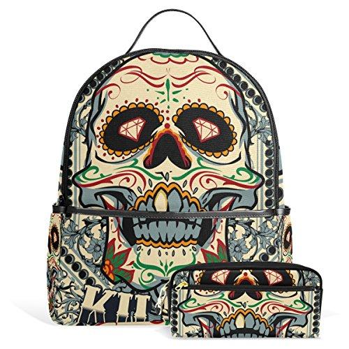 Sugar Skull Dia De Los Muertos Unisex Rucksack Canvas Satchel Casual Daypack ,School College Student Backpack with Pencil Case