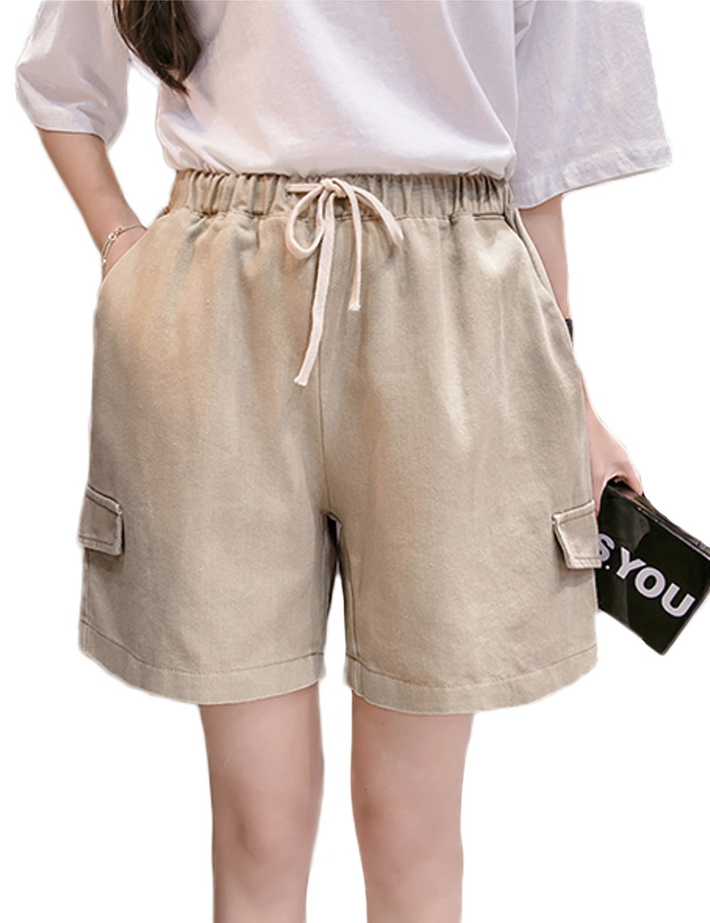 Innifer Women's Basic Elastic Waist Comfy Cotton Linen Casual Cargo Shorts