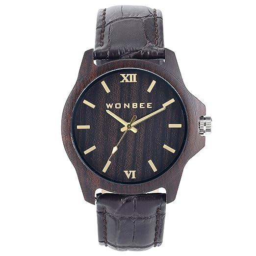 Reloj para Hombre WONBEE - Reloj Empresarial de Madera de Ébano - Banda de Cuero Marrón - Reloj de Pulsera de Cuarzo - Serie GI.: Amazon.es: Relojes