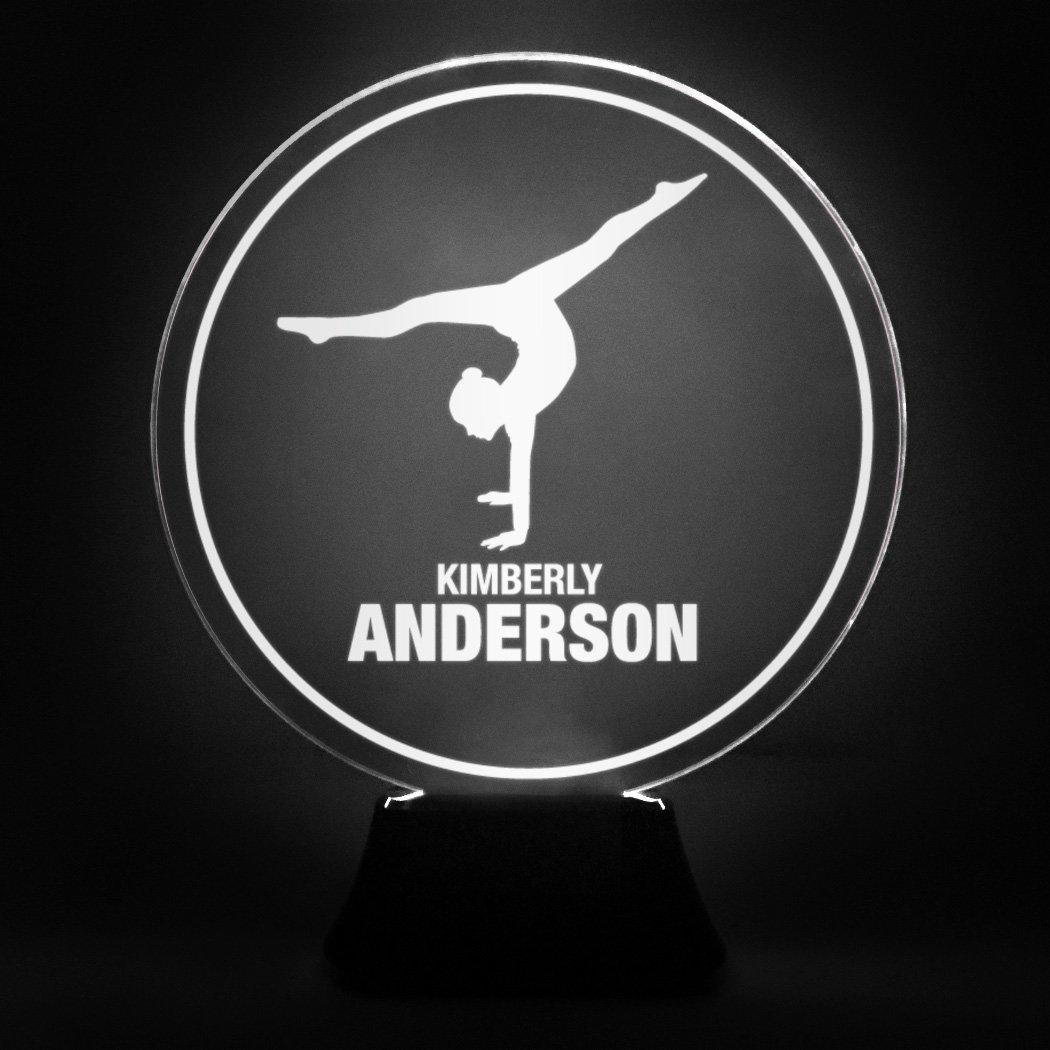 Custom Gymnast With 2 Lines | Acrylic LED Gymnastics Lamp by ChalkTalkSPORTS