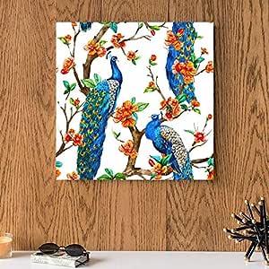 لوحه للطاووس فوق الشجره خشب ام دي اف مقاس 30x30 سنتيمتر