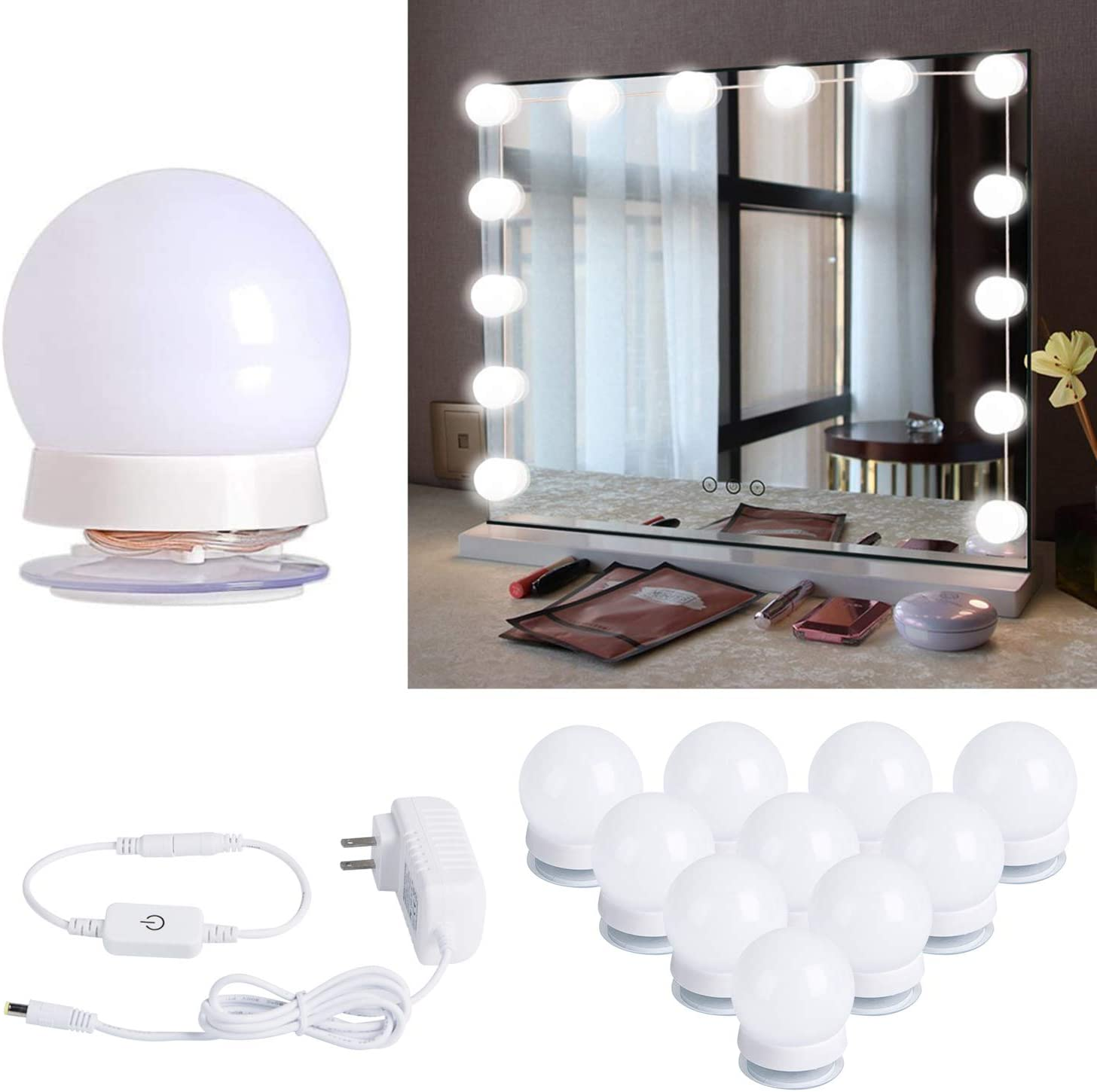 Hollywood Style Led Vanity Mirror Lights Kit with 10 Dimmable Light Bulbs for Makeup Dressing Table and Power Supply Plug in Lighting Fixture Strip, Vanity Mirror Light, White (No Mirror Included) - -