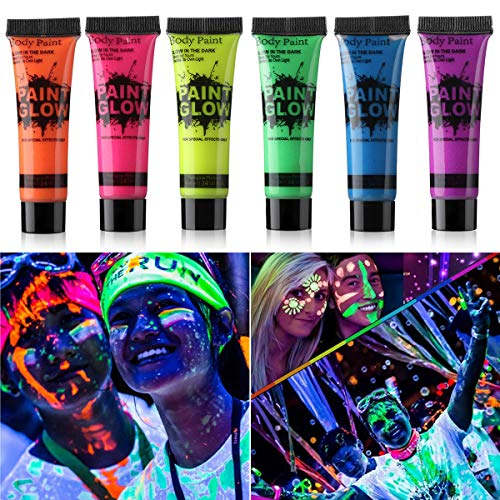 Amareu Glow in Dark Body Paint Body&Face Glow Backlight Neon Fluorescent 0.35oz Set of 6 Tubes -