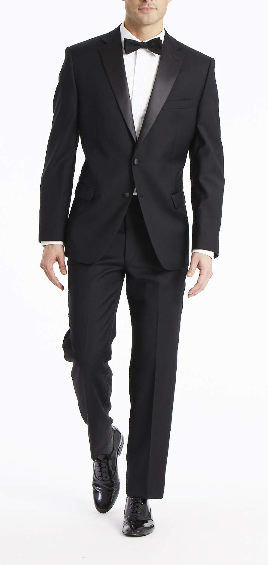 Calvin Klein Men's Modern Fit 100% Wool Tuxedo, Black, 43 Regular by Calvin Klein
