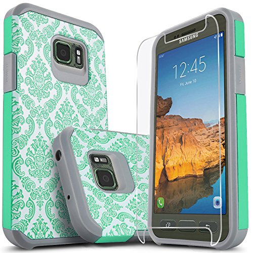 Galaxy S7 Active Case, (Not Fit S7 Edge) Starshop [Shock Absorption] Dual Layers Impact Advanced Protective Cover [Premium Screen Protector] Samsung Galaxy S7 Active (Teal Lace)