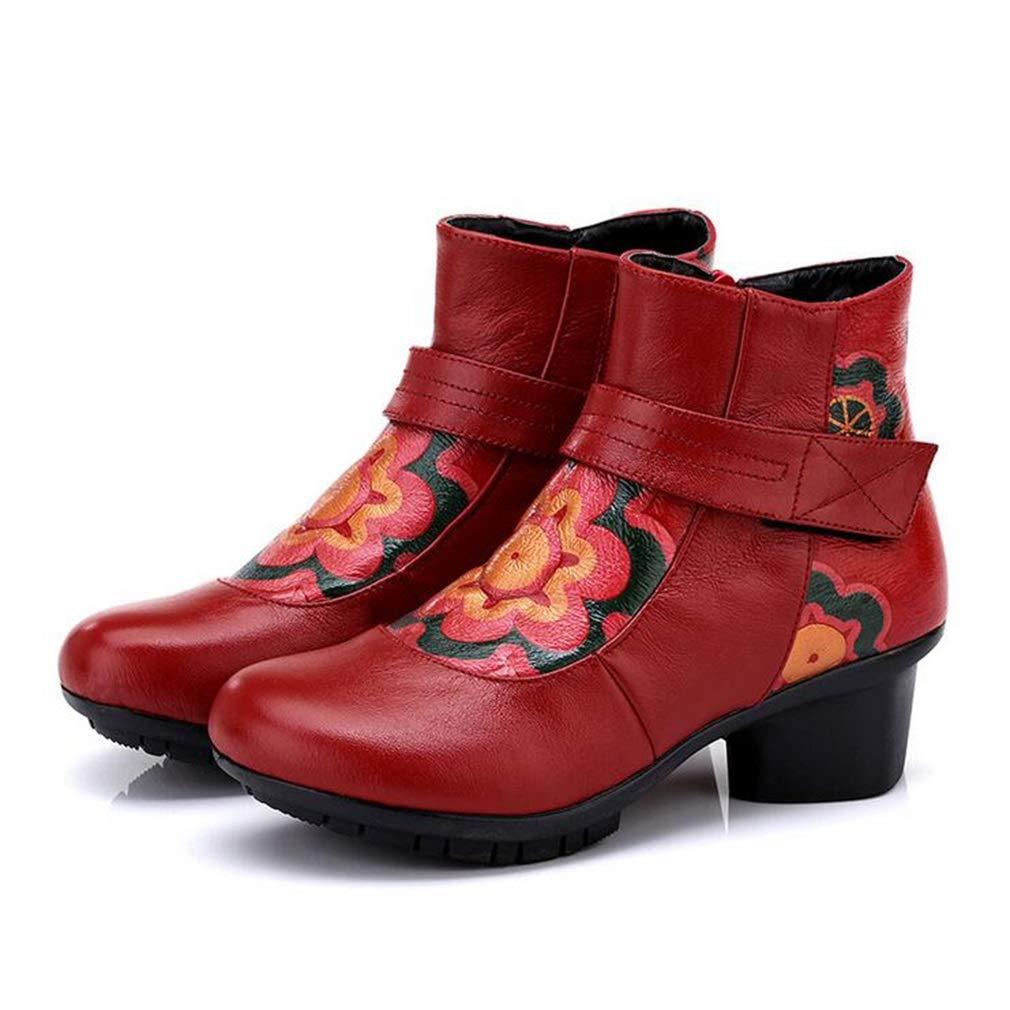 Hy Damenstiefeletten Herbst Winter Plus Kaschmir warme Baumwollstiefel Damen Retro National Wind Dicker Absatz Stiefeletten Winterstiefel (Farbe   Rot Größe   37)