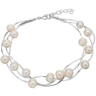 HMILYDYK Women Charm Bracelet Sterling Silver Four Line White Freshwater Cultured Shell Pearls - AAA Quality 2jovTUQL20