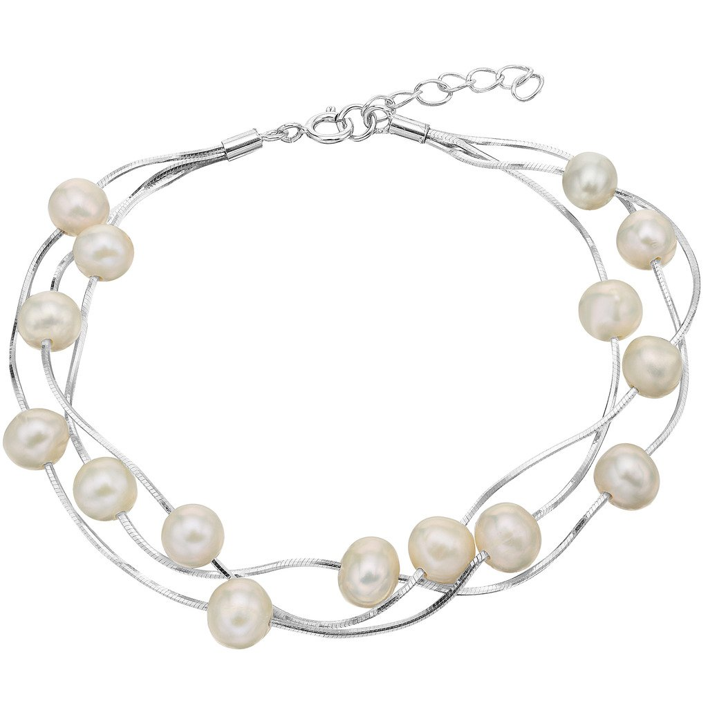 EVER FAITH 925 Sterling Silver Tin Cup 6MM Freshwater Cultured Pearl Station Bracelet - Three Layers
