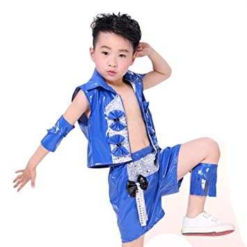 Wgwioo Kinder Modernes Jazz Tanz Kostüm Junge Bühne Pailletten Hip