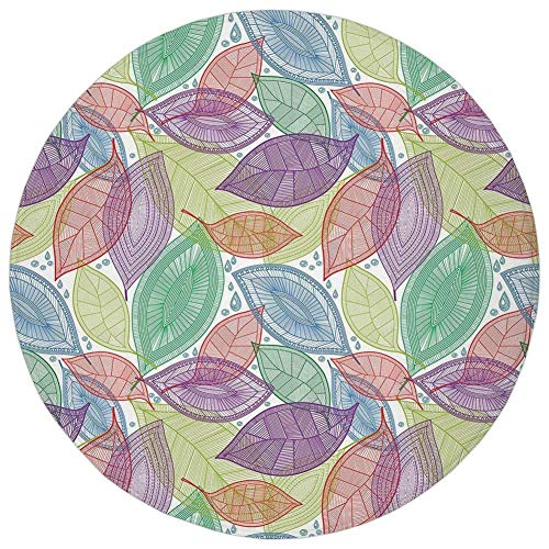 K0k2t0 Round Rug Mat Carpet,Abstract,Ornate Patterned Leaves Environmental Floral Nature Theme Water Drops Drawing,Multicolor,Flannel Microfiber Non-Slip Soft Absorbent,for Kitchen Floor Bathroom - Round Dial Patterned