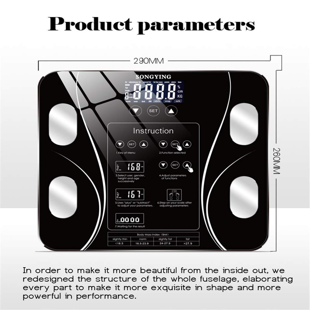 Scales Digital Weight LED Display Weighing Scale Body Scale Support Weight Human Health Index Composition Monitor Health Analyzer Black