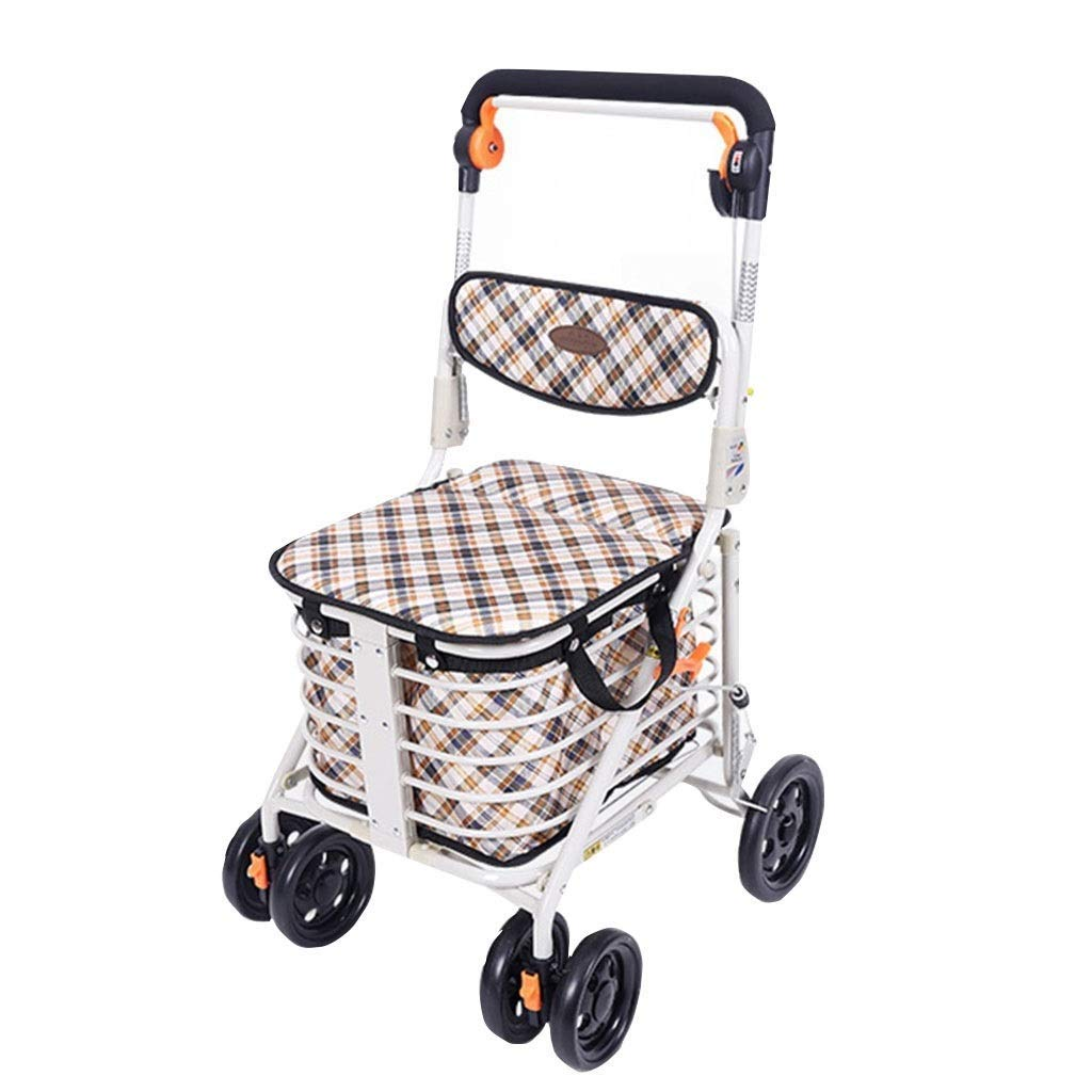 Medical Rolling Walkers Shopping Cart Elderly Walker Can Take A Folding Wheelchair Four-Wheeled Trolley Household Grocery Shopping Cart PNYGJZXQ by PNYGJZXQ
