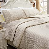 Brandream Queen Size Beige Bed Quilt Set Luxury Bedspread