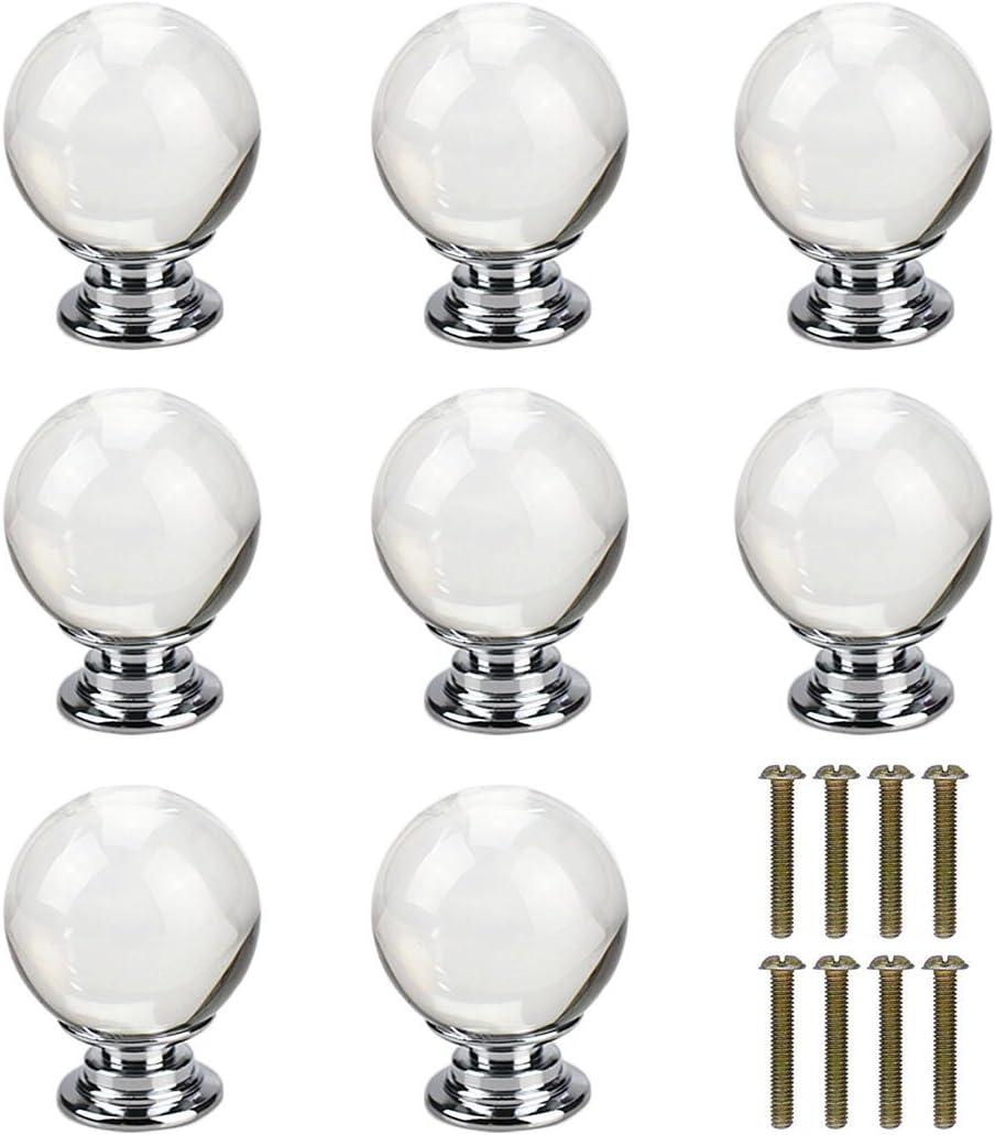 8pcs boules en forme de verre clair cristal boutons de tiroirs pour meubles de cuisine porte tiroir armoire commode penderie penderie placard salle de bains