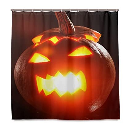 amazon com vantaso shower curtains 72x72 carving pumpkin lantern rh amazon com