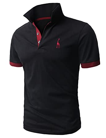3d2205ca9 H2H Mens Natural Solid Giraffe Polo Shirts with Giraffe Embroidery Black US  XS/Asia M