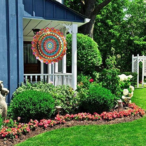 decorazioni artigianali fiori multicolori FONMY 12inch Multi decorazione per interni ed esterni tagliata a laser dipinta a mano con polveri scintillanti Girandola a vento in acciaio inox 3D