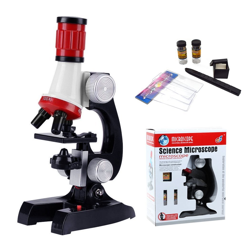 FLYDEER Kids Toys Microscope Educational Science Kit Beginner Microscope Toy with LED 100X 400X 1200X Magnification