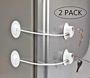 2 Pack Refrigerator Lock with xx Keys, Refrigerator Lock Dorm Freezer Door Lock and Child Safety Cabinet Lock with Strong Adhesive
