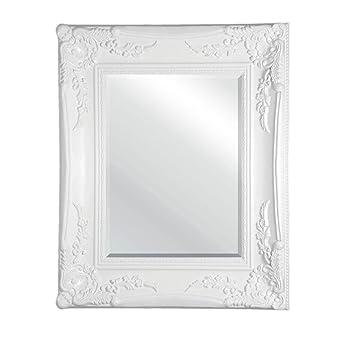 Antique Wooden White Frame Rectangular Wall Mirror: Amazon.co.uk ...