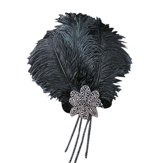 Topshop Roaring 20s Vintage Retro Flapper Great Gatsby Feather Headband Sequin Charleston Costume Dance Fascinator (
